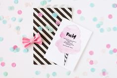 Cotton Candy Party Invitations - The TomKat Studio | Kate's Cotton Candy Party!