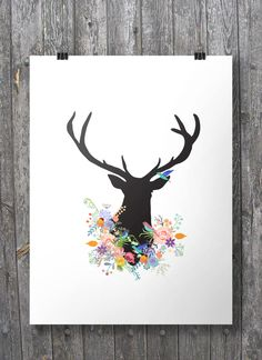 Printable art | Deer with floral garland | Woodland deer flowers | stag deer floral art print | Modern deer silhouette Printable wall art