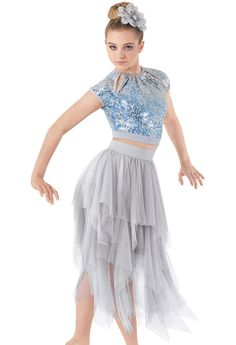 Weissman™ | 2-Piece Sequin Crop Top Tattered Tulle