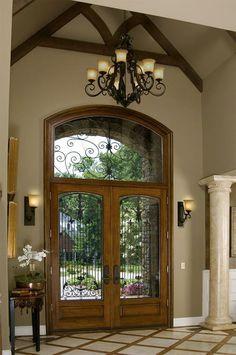 elegant-foyer doors, window, beams and columns