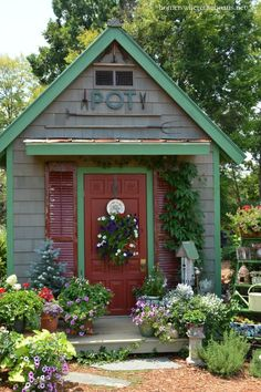 Potting Shed with vintage garden tools | homeiswheretheboatis.net