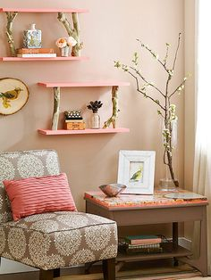 Birch Perch. Create shelves with panache using birch logs as supports. Trim sturdy branches to equal lengths, keeping the cuts straight. Paint two 24-inch-long 1x6 boards in the desired color. Attach one board to the bottom of the branches using wood screws, and attach the second board to the top of the branches, again, with wood screws. Hang the shelves using picture-hanging hooks driven into wall studs.