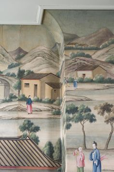 This type of handpainted wallpaper is stunning! Scenic Wallpaper, Windows Wallpaper, Fabric Wallpaper, Cool Wallpaper, Chinoiserie Wallpaper, Chinoiserie Chic, Antique Wallpaper, Asian Wallpaper, Chinese Wallpaper