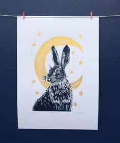 Original, Unframed, Linocut Print – Moonlit Hare – print on Paper – blue and gold, moon and hare – lino ink paper Linocut Prints, Art Prints, Lino Art, Linoprint, Chalk Pastels, Woodblock Print, Artist's Book, Printmaking, Screen Printing