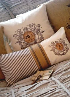 Another gorgeous vintage burlap pillow using one of The Graphics Fairy images. Fabulous!!