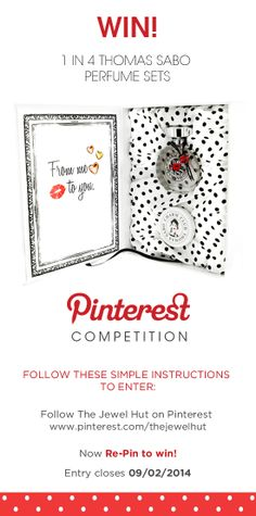 Win 1 of 4 @Thomas Marban SABO perfume sets. Simply follow The Jewel Hut on Pinterest and #RepinToWin. Ends 09/02/14.