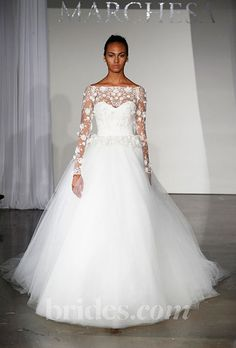 the only thing good=the sleeves.   Brides.com: Fall 2013 Wedding Dress Trends. Wedding Dress with Long Sleeves: Marchesa. Lace ballgown by Marchesa  See more Marchesa wedding dresses in our gallery.