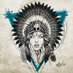 New Tattoo Designs Sketches Creative 15 Ideas Trendy Tattoos, Tattoos For Guys, Tattoos For Women, Cool Tattoos, Indian Girl Tattoos, American Indian Tattoos, Tattoo Sketches, Tattoo Drawings, Native Tattoos