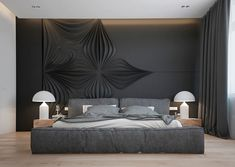 großzügiges Schlafzimmer in Anthrazit mit Polsterbett