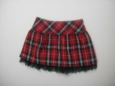 TOFFEE APPLE GIRLS SIZE 3T RED PLAID SKIRT HOLIDAY CHRISTMAS POLYESTER #TOFFEEAPPLE #Holiday