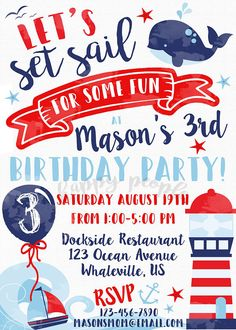 Invitación Náutica Náutica cumpleaños invitación temática Navy Party, Nautical Party, Photobooth Layout, Nautical Birthday Invitations, Baby Shower, Baby Month By Month, 3rd Birthday, Party Time, First Birthdays