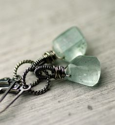 Ice Blue Aquamarine Earrings on Oxidized Sterling Silver