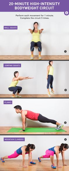 Twenty minutes and a little space is all you need for this challenging workout that strengthens your abs, butt, and lower back. #bodyweight #workout #abs #exercises https://greatist.com/move/quick-total-body-bodyweight-workout