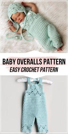 Crochet Baby Overalls Pattern - easy crochet overalls pattern for beginners # crochet baby patterns newborns Crochet Baby Overalls Pattern Crochet Baby Clothes Boy, Crochet Baby Jacket, Crochet Baby Sweaters, Baby Girl Crochet, Crochet For Boys, Crochet Boys Sweater Pattern Free, Crochet Baby Dresses, Crochet Baby Cocoon Pattern, Crochet Baby Beanie