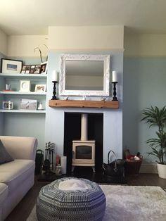 Cream log burner & floating beam mantle! Duck egg & cream room Cream Log Burner, Cream Room, Mantle, Fireplaces, Beams, Flat Screen, Egg, Living Room, Home