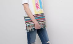 Pull&Bear - woman - bags and backpacks - multicoloured fabric clutch with fringed foldover flap - red - 05820312-V2015