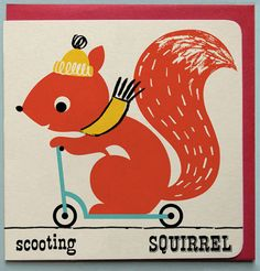 Scooting Squirrel Greeting card £2.50 by Ketchup on Everything