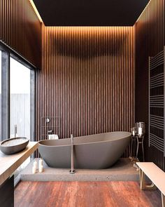 [New] The 10 All-Time Best Home Decor (Right Now) - Ideas by Katherine Wallace - In love for these textures whats your best part? Wooden bathroom Render by Loft Interior, Luxury Interior, Home Interior Design, Design Interiors, Modern Interior, Design Loft, House Design, Modern Design, Urban Design