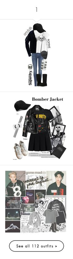 """""""1"""" by gunkun ❤ liked on Polyvore featuring 7 For All Mankind, Superdry, UGG Australia, Casetify, King Baby Studio, rag & bone, chic, romwe, jeans and superdry"""