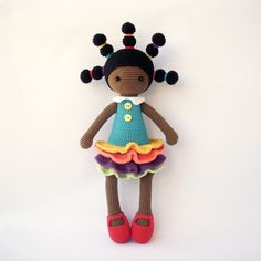 Candice doll, crocheted doll with dress and with long braids, Crocheted Toy, african girl