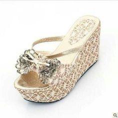 9ca19428bec3 2013 Summer Wedges Rhinestones Beach Wedding Shoes Flip Flops For Bride  With Platform pretty style