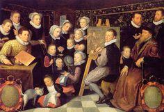 Otto Van Veen (Países Bajos, c.1556-1629). L'Artiste et sa famille, 1584, Musee du Louvre, París.
