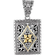 Two-Tone Design Fashion Pendant Enhancer in Sterling Silver and 18K Yellow Gold - http://fashion.designerjewelrygalleria.com/pendants/silver-pendants/two-tone-design-fashion-pendant-enhancer-in-sterling-silver-and-18k-yellow-gold-2/