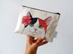 Zip Bag Cat Pouch Zipper Pouch Calico Cat with by ShebboDesign