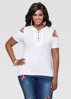 cfb1c7a59f2c8 Lace-Up Cold Shoulder Top. Laced Up ShirtShoes OnlineAshley StewartPlus Size  ...