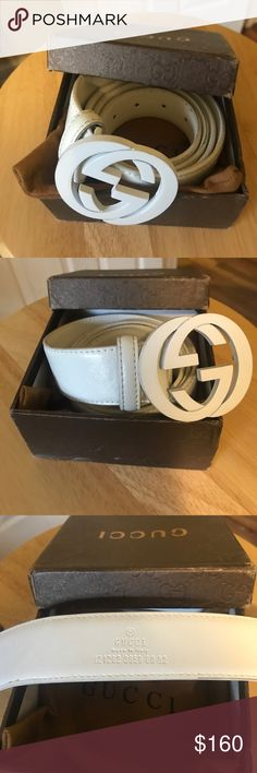 6b81a6ccb406 White GUCCI belt with white buckle - Size 46 115 White GUCCI belt with white.  Louis Vuitton ...