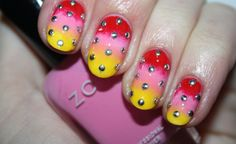 Studded Sunrise nail art by Polish You Pretty. Click the photo to see the full tutorial!
