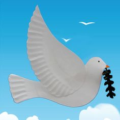 This dove can be used to decorate a table at a wedding or a communion. But you can also make it as a Christmas decoration, or to celebrate the International Day of Peace which is held every year on September Bible School Crafts, Bible Crafts For Kids, Sunday School Crafts, Craft Activities For Kids, Preschool Crafts, Art For Kids, Kids Church Decor, Church Crafts, Peace Bird