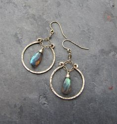 Flashy Blue Green Gray Labradorite Hoop Earrings  by TheGemGypsy