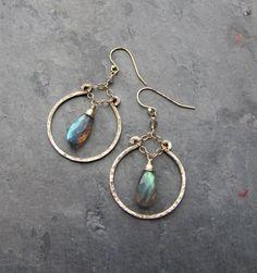 Flashy Blue Green Gray Labradorite Hoop Earrings  by TheGemGypsy