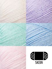 Bernat® Baby is a fingering weight yarn ideal for layette and baby apparel, and its super soft feel is especially gentle to baby's skin. Label features free project. No dye lots.