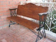 Bench made from sewing machine legs