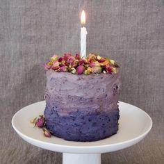 Banana Birthday Cake layered with Chocolate Ganache & Blueberry Cream