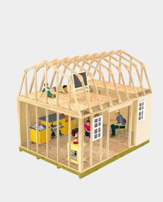 Build a playhouse above in the spacious loft, and a work area down below for yourself!  Lots of room to customize a play area in this 12x16 barn shed.