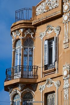 Art Nouveau building in the Plaza of Spain in Melilla, Spain Art Nouveau Architecture, Historical Architecture, Beautiful Architecture, Beautiful Buildings, Architecture Details, Beautiful Places, Gaudi, Never Been To Spain, Places Around The World