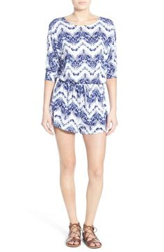 Everly Print Three Quarter Sleeve Romper available at #Nordstrom