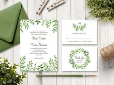 """Watercolor Wedding Invitation Set """"Lovely Leaves"""", Green. Printable Wedding Templates. Editable Text, MS Word Templates. Instant Download."""