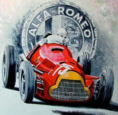 The Alfa Romeo 158/159 is one of the most successful racing cars ever produced. The car was originally developed for the 1937 formula with a 1.5-litre straight-8 supercharged engine, and took 47 wins from 54 Grands Prix entered. Following WW2, the car was eligible for the new Formula 1 introduced in 1947, and in the hands of drivers such as Nino Farina, Juan-Manuel Fangio and Luigi Fagioli, it dominated the first two F1 seasons. Artwork by Michael Jekot