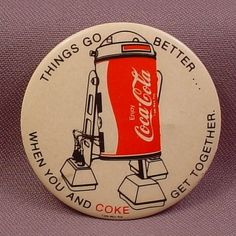 "Pinback Button 2 1/4"" Round, Coca-cola take on R2D2 from Star Wars ........  #coke ....... #coca-cola"