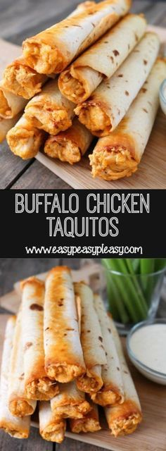 Buffalo Chicken Taquitos For The Win! - Easy Peasy Buffalo Chicken Taquitos For The Win! – Easy Peasy Pleasy You will love these Buffalo Chicken Taquitos if you love Buffalo Chicken Dip. Its the perfect handheld appetizer or weeknight meal. Chicken Tikka Masala Rezept, Comida Latina, Snacks Für Party, Party Appetizers, Party Dips, I Love Food, Food Hacks, Appetizer Recipes, Recipes Dinner