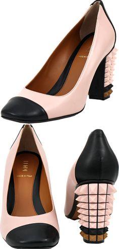 Fendi ● cap toe stud heel pump.