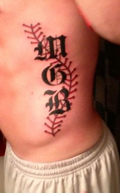 Baseball laces with initials tattoo, side tattoo