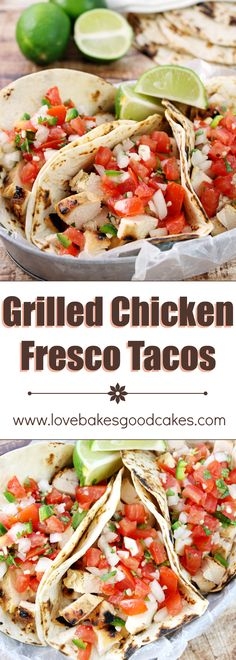 Try these citrus marinated Grilled Chicken Fresco Tacos for dinner tonight! Served with a spoonful of Pico de Gallo helps keep them light on calories and fat, but BIG on flavor!