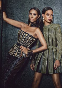 Iman & Rihanna wearing Balmain for W Magazine September 2014 photographed by Emma Summerton