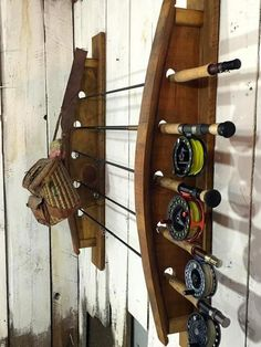 The Great Lakes Fly Fishing Rack is handcrafted using our Napa Valley wine barrel staves. This is an original design by Great Lakes Reclaimed Fly Fishing Tips, Best Fishing, Trout Fishing, Fishing Lures, Fishing Rods, Ice Fishing, Fishing Tackle, Fishing Tricks, Fishing Storage