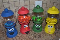 Sesame Street in Terra Cotta Clay Pot Projects, Clay Pot Crafts, Jar Crafts, Crafts For Kids, Tree Crafts, Clay Flower Pots, Flower Pot Crafts, Clay Pots, Diy Flower